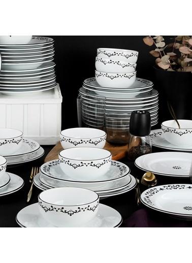 Keramika Keramika Riva Beyaz Siyah Yemek Takımı 24 Parça 6 Kişilik Renkli